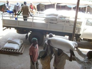 Loading a 10 ton truck in mozambique ready for distribution during zimbabwes financial crash